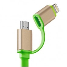 Кабель 2 в 1 Apple 8 pin/Micro USB CAB1001 (зеленый)
