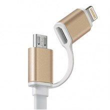 Кабель 2 в 1 Apple 8 pin/Micro USB CAB1001-BLA (белый)