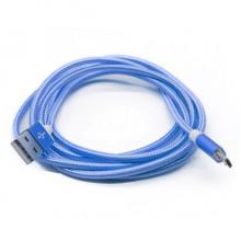Плетеный Micro USB кабель из прочного нейлона 1,5m  (синий)
