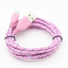Плетеный Micro USB кабель (розовый)