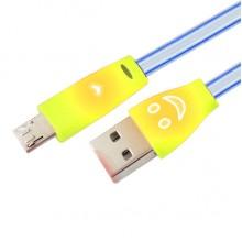 Светодиодный микро USB  кабель с подсветкой  SH-FG1 (желтый)